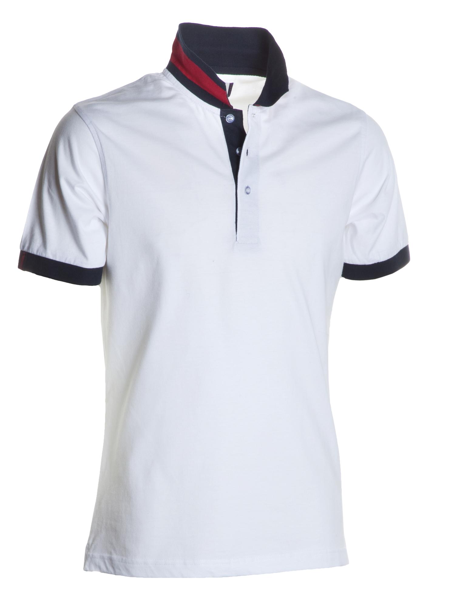 Polo homme manches courtes 100% coton, couleurs assorties, Bianco